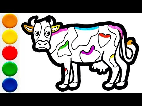 Раскраска для детей КОРОВА | Мультик -  Раскраска | Учим цвета