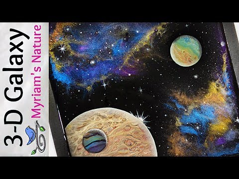 50]  ACRYLIC Pouring & RESIN Galaxy - Mica NEBULA + DIRTY POUR Planets  -  FULL Space scene Tutorial