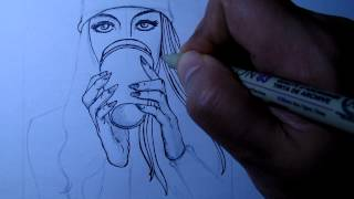 How to Draw a Girl Drinking Coffee Part 2(Inking.)