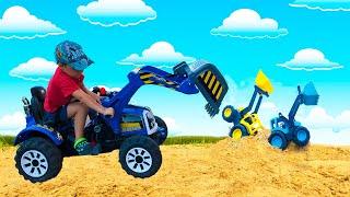 Экскаваторы застряли в песке  Малыш Тёма на Синем Тракторе спешит на помощь