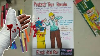 First Aid For Cuts And Screpes | Protect Your Hands | Safety Poster Drawing Tutorial By Vignesh modi