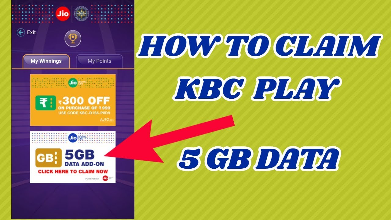 How to redeem jio kbc prizes claim your 5 gb data voucher claim your 5 gb data voucher in hindi nvjuhfo Image collections