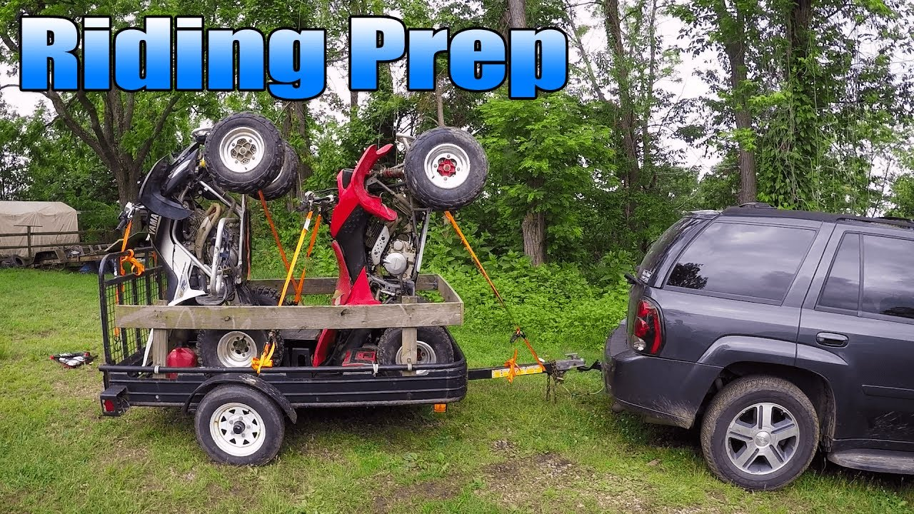 Aluminum Atv Ramps >> How to Load 2 Quads on a 4x8 Trailer - YouTube