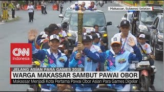 Download Video Warga Makassar Sambut Pawai Obor Asian Para Games 2018 MP3 3GP MP4