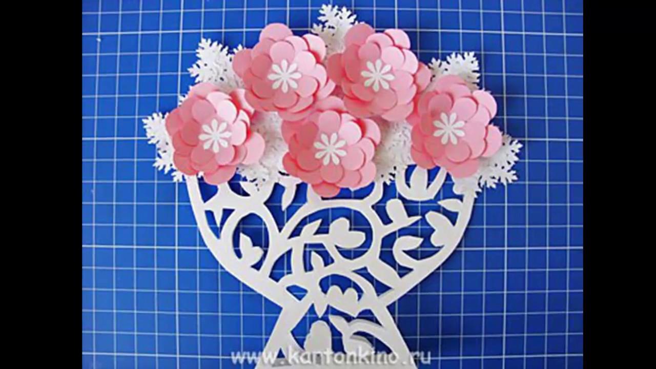 Открытка ваза с цветами своими руками из бумаги шаблоны