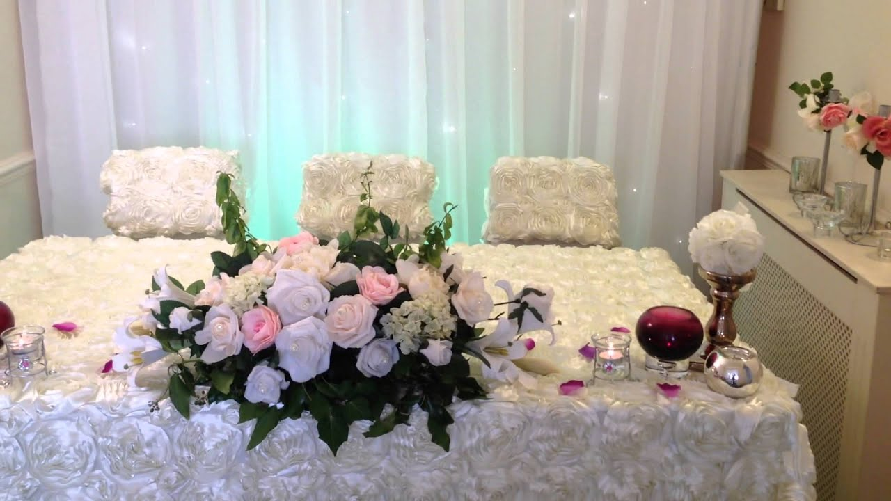 Our new 3-D rose pattern wedding top table dressing and matching ...