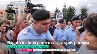 O actriţă din Cluj-Napoca a fost luată cu forţa de jandarmi de mitingul care susţinea familia t