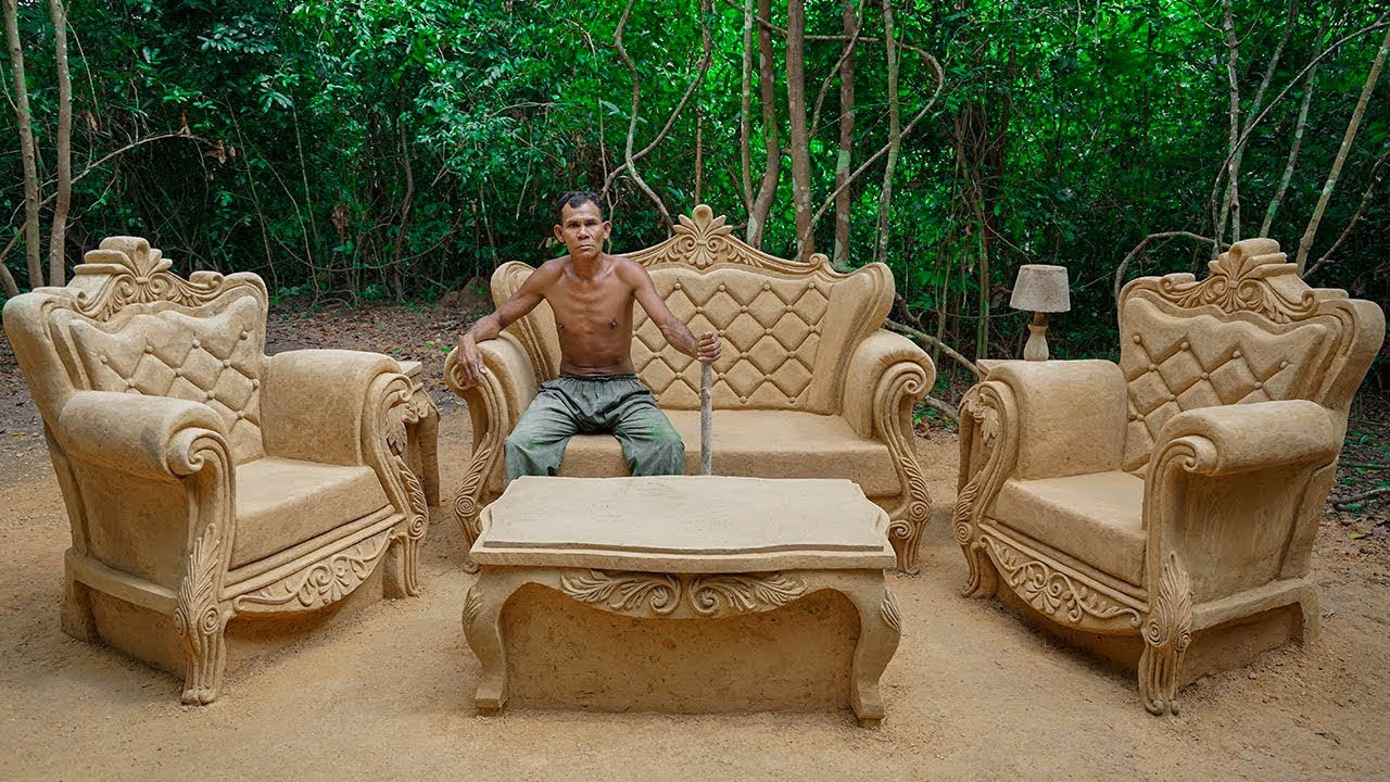 Build Most Creative Private Living Room from Mud