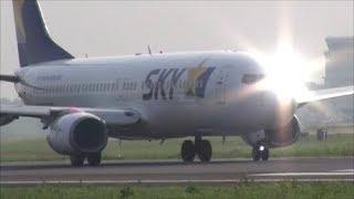 ファーストフライト スカイマーク B737 JA73NA 神戸へ Rwy03L 茨城空港 nrthhh