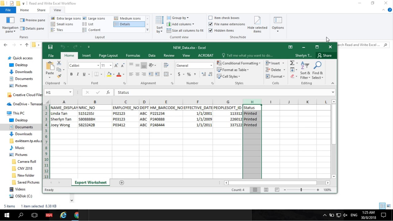 Uipath Read and Write Dynamic Column Name and Value in Excel Workflow