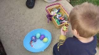 Opening Easter Eggs Outside
