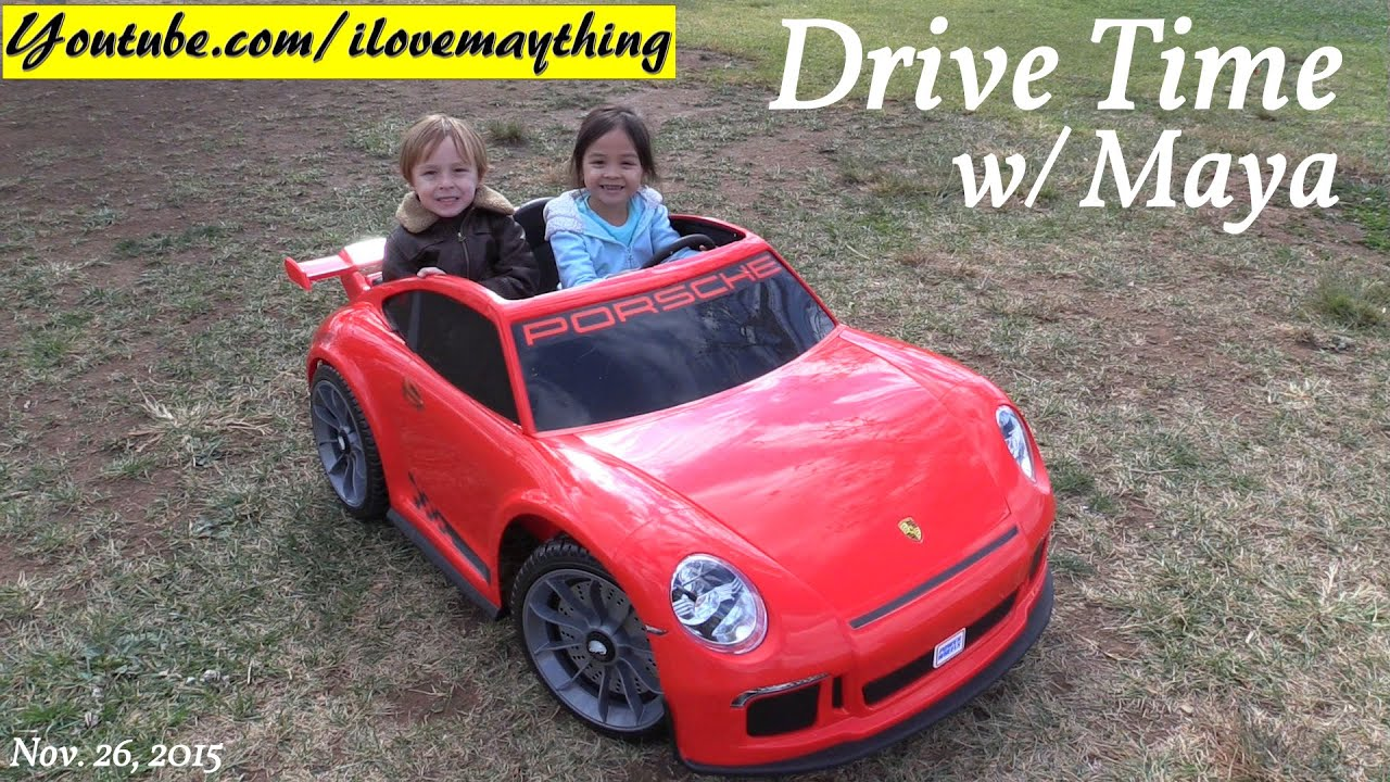 fisher price ride on power wheels porsche 911 gt3 ride with maya at the playground