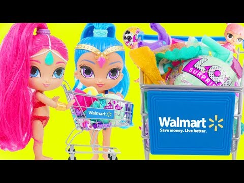 Shimmer and Shine Dress Up Rescue Game with LOL Surprise Dolls + Walmart Shopping Cart