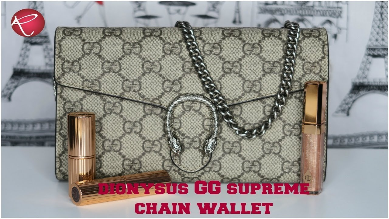 9a7445326b5 Gucci Dionysus GG Supreme Chain Wallet