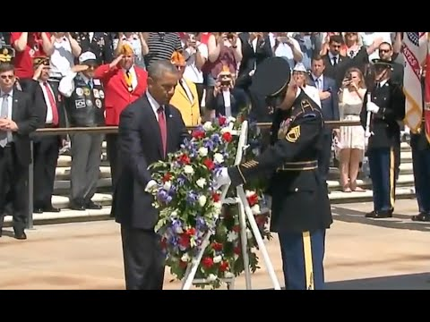 Obama Lays Wreath At Tomb Of Unknown Soldier-Memorial Day 2016
