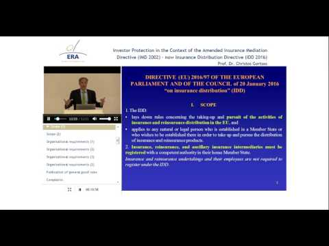 Investor Protection in the Context of the IMD 2002 – now IDD 2016