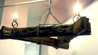 36 кованая люстра из дерева и ковки, брус, бревно и металл
