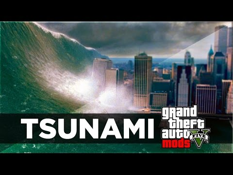 GTA 5 Mods - TSUNAMI MOD GAMEPLAY! HUGE WAVES & NO WATER MOD! (GTA 5 PC MODS)