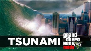GTA 5 Mods - TSUNAMI MOD GAMEPLAY! HUGE WAVES & NO WATER MOD! (GTA 5 PC MODS)