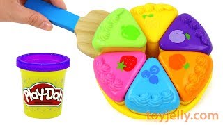 Play Doh Color Fruits Cake Velcro Cutting Toy with Microwave Oven Baby Toy Playset for Kids