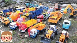 そとではたらくくるま!ショベルカー、クレーン車、ダンプトラック、ゴミ収集車、ホールローダーが働く現場♪