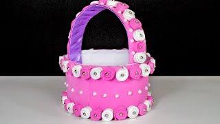 How to Make Pink Foam Sheet Basket in Simple Way