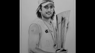Realistic time lapse Pencil Sketch/Drawing of Indian cricket captain MS Dhoni