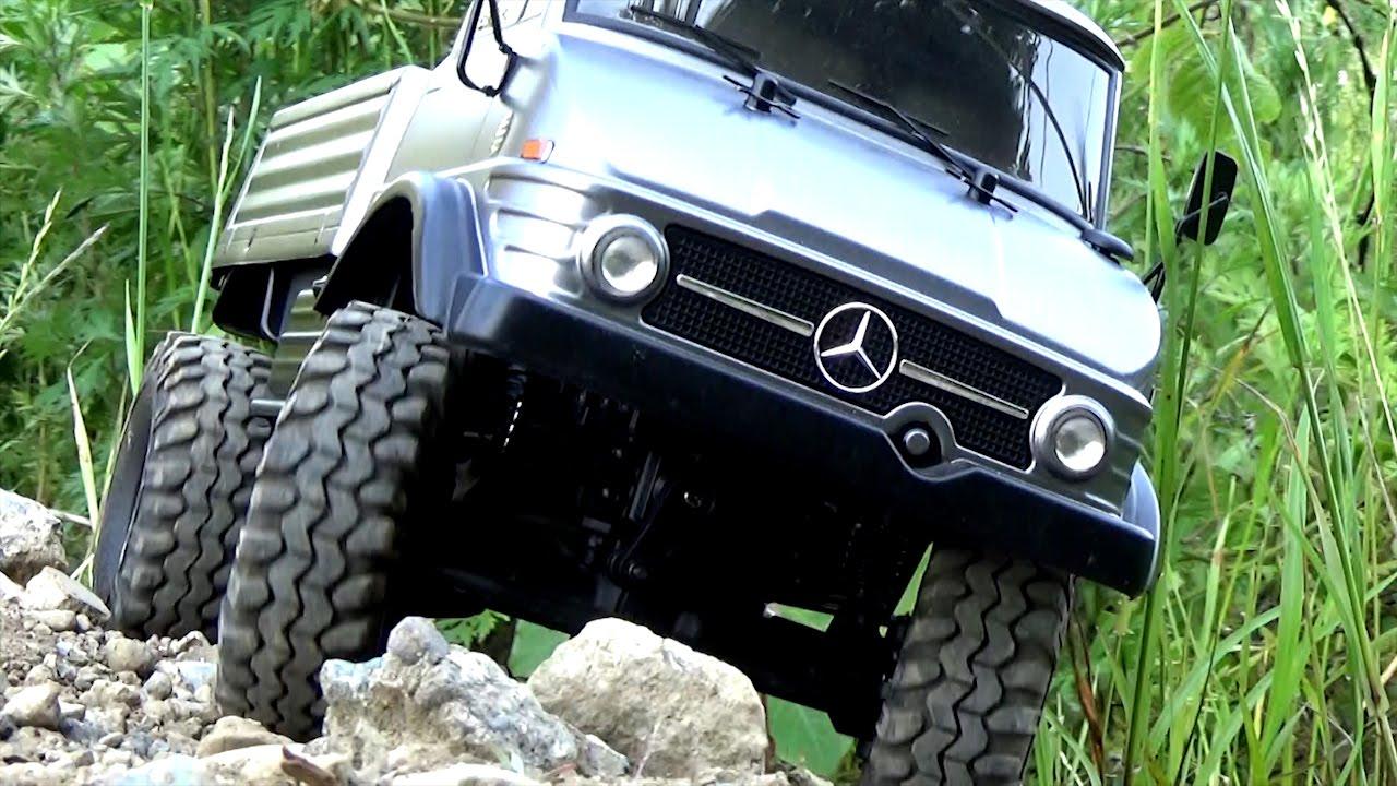 tamiya mercedes benz unimog 406 body + mst cmx chassis - youtube