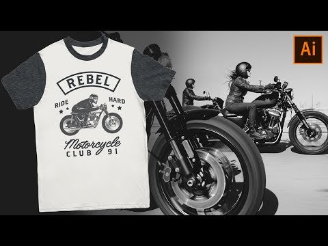 How To Design A Motorcycle Club T-Shirt - Adobe Illustrator Tutorial thumbnail