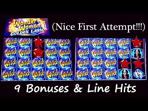 (First Attempt) Bally's New Slot - Wonder Woman Golden Lasso - 9 Bonuses and Line Hits
