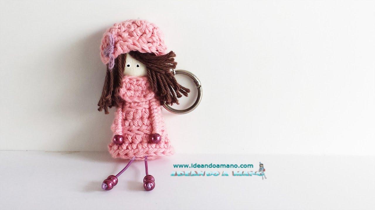 Gorro y jersey a ganchillo para muñecas llavero - YouTube