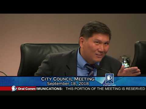 Cupertino City Council Meeting (Vallco Public Hearing) - September 18, 2018