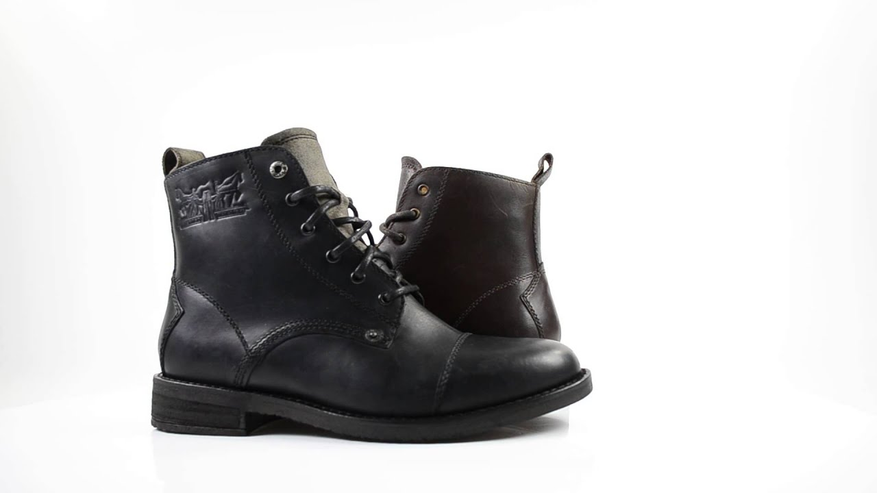 levi s boots raker lace up dark brown and black youtube. Black Bedroom Furniture Sets. Home Design Ideas