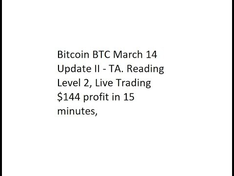 Bitcoin BTC March 14 Update II - TA. Reading Level 2, Live Trading $144 Profit In 15 Minutes,