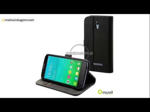 Etui Alcatel One Touch Pop S7 Muvit Slim Folio Noir