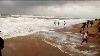WAVES OF BAY OF BENGAL AT PURI IN FULL MOON