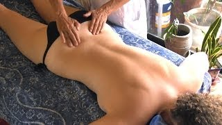 Repeat youtube video Back Massage Therapy How to for Sciatica Pain Relief Treatment, Cranio-Sacral Techniques