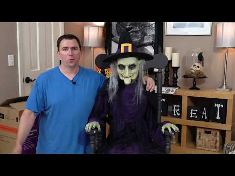 Rocking Chair Animated Witch - Home Depot Halloween Animatronic - Unboxing, Assembly & Demo