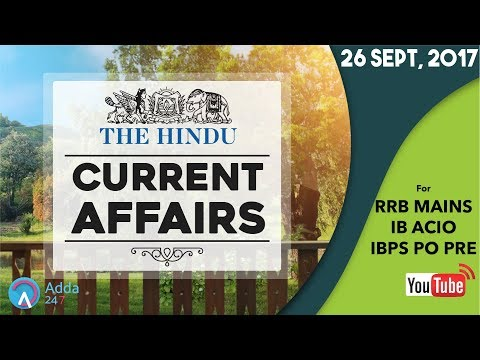 Current Affairs Questions Based on The Hindu for IBPS RRB 2017 (26th September 2017)
