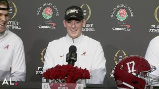 """""""that's a rat poison question""""mac jones responds after being asked about the heisman trophy ceremony druring alabama's rose bowl press conference."""