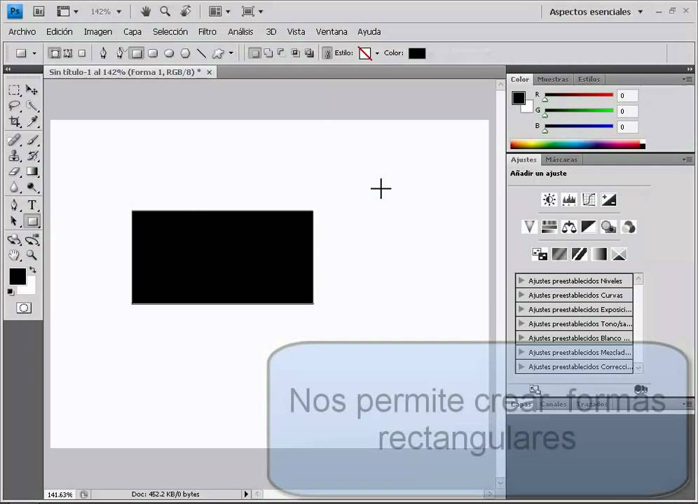 Herramienta rectangulo photoshop (basico) - YouTube