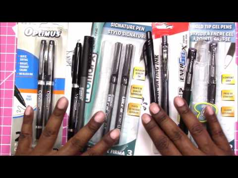 Demo/Review: Dollar Tree Felt Tip Pens And Gel Pens
