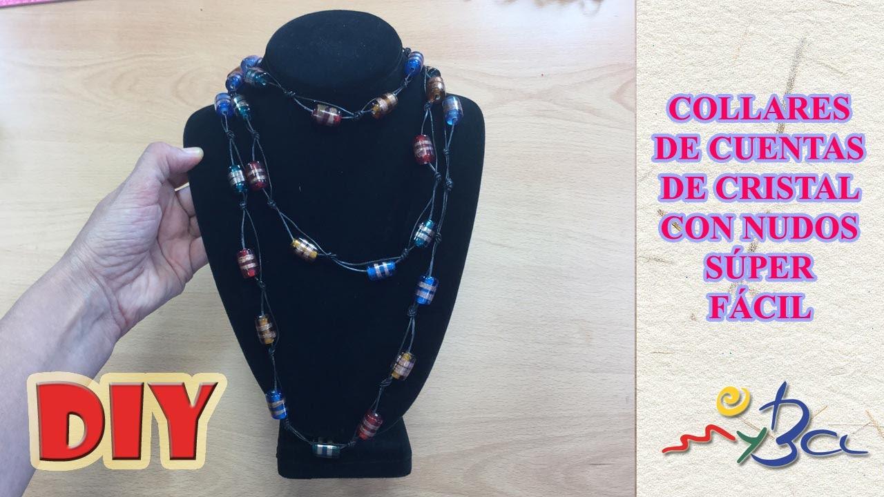 c2790a291965 Cómo hacer collares fáciles con nudos y cuentas bonitas de cristal.  Collares de cuero.