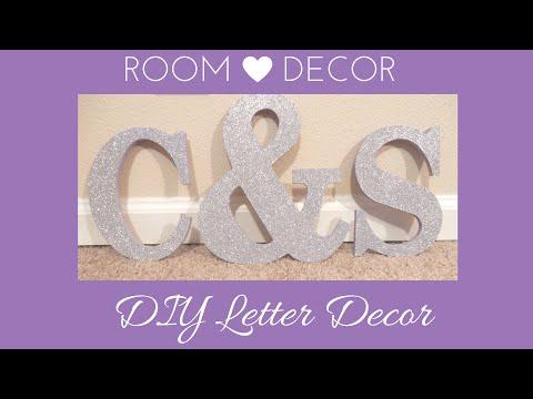 DIY BEDROOM DECORATION: EASY GLITTER NAME LETTERS