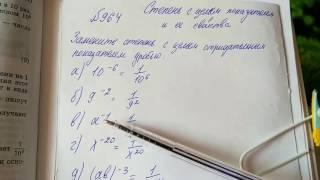 964 Алгебра 8 класс, тема Степени. Замените степень с целым отрицательным показателем дробью
