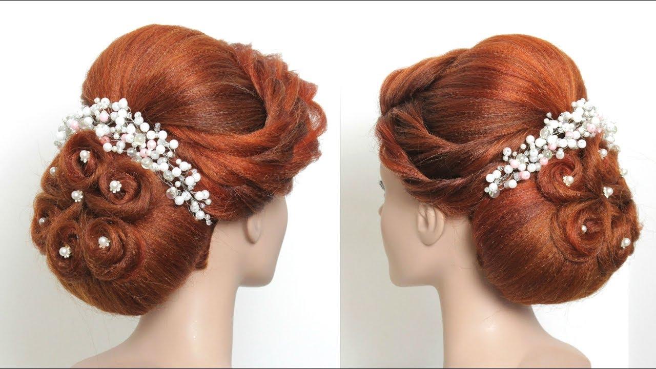 Wedding Hairdo For Long Hair. Bridal Bun Hairstyles. - YouTube