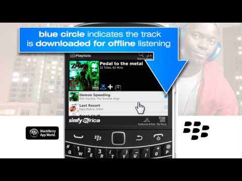 How to download tracks to play in offline mode on a Blackberry handset