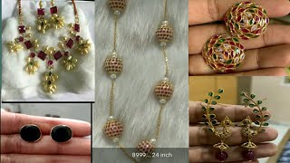 Multi color stone light weight gold pendents,chains,earrings collection with prices \14 carats gold