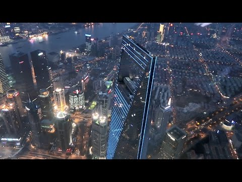 Inside Shanghai Tower - 118th floor Shanghai Panorama at night