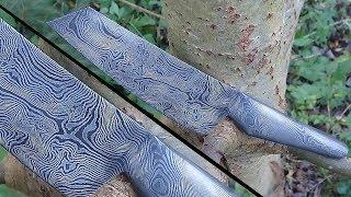 knife making - full Steel handle Damascus knife